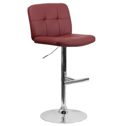 Contemporary Tufted Burgundy Vinyl Adjustable Height Bar Stool with Chrome Base