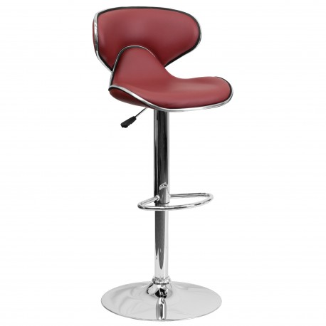 Contemporary Cozy Mid-Back Burgundy Vinyl Adjustable Height Bar Stool with Chrome Base