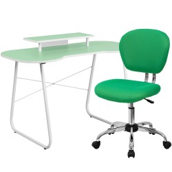 Green Computer Desk with Monitor Platform and Mesh Chair