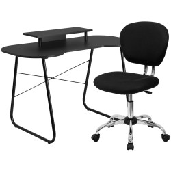 Black Computer Desk with Monitor Platform and Mesh Chair