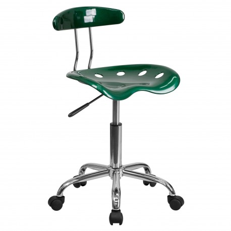 Vibrant Green and Chrome Computer Task Chair with Tractor Seat