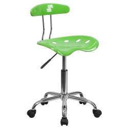 Vibrant Apple Green and Chrome Computer Task Chair with Tractor Seat