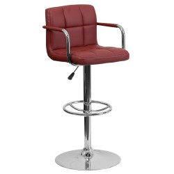 Contemporary Burgundy Quilted Vinyl Adjustable Height Bar Stool with Arms and Chrome Base