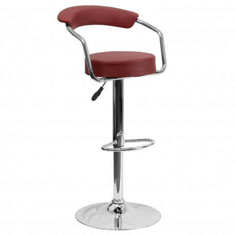Contemporary Burgundy Vinyl Adjustable Height Bar Stool with Arms and Chrome Base