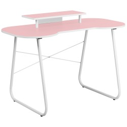 Pink Computer Desk with Monitor Platform and White Frame