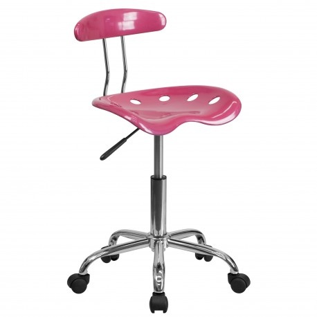 Vibrant Pink and Chrome Computer Task Chair with Tractor Seat