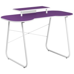 Purple Computer Desk with Monitor Platform and White Frame