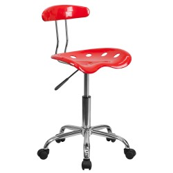 Vibrant Red and Chrome Computer Task Chair with Tractor Seat