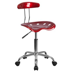 Vibrant Wine Red and Chrome Computer Task Chair with Tractor Seat