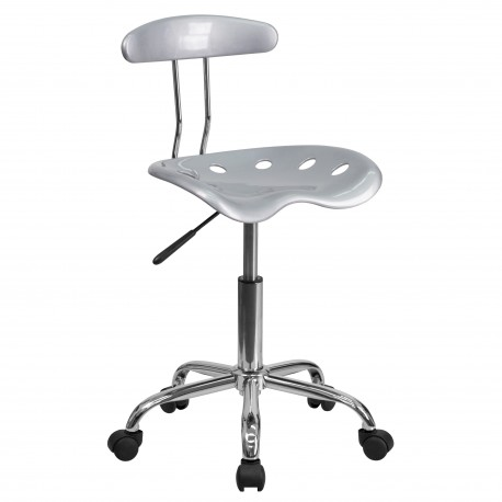 Vibrant Silver and Chrome Computer Task Chair with Tractor Seat