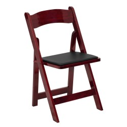 Mahogany Wood Folding Chair with Vinyl Padded Seat