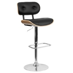 Beech Bentwood Adjustable Height Bar Stool with Button Tufted Black Vinyl Upholstery