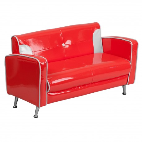 Kids Red and White Loveseat