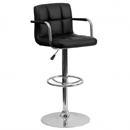Contemporary Black Quilted Vinyl Adjustable Height Bar Stool with Arms and Chrome Base