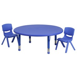 45'' Round Adjustable Blue Plastic Activity Table Set with 2 School Stack Chairs
