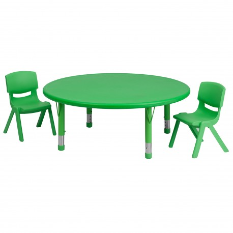 45'' Round Adjustable Green Plastic Activity Table Set with 2 School Stack Chairs