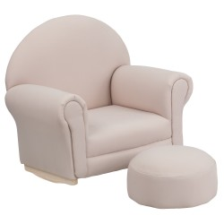 Kids Beige Fabric Rocker Chair and Footrest