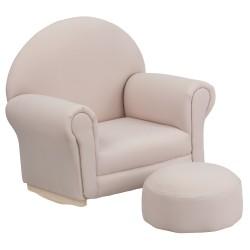 Kids Beige Fabric Rocker Chair and Footrest