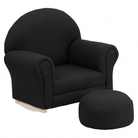 Kids Black Fabric Rocker Chair and Footrest