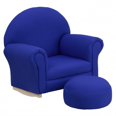 Kids Blue Fabric Rocker Chair and Footrest