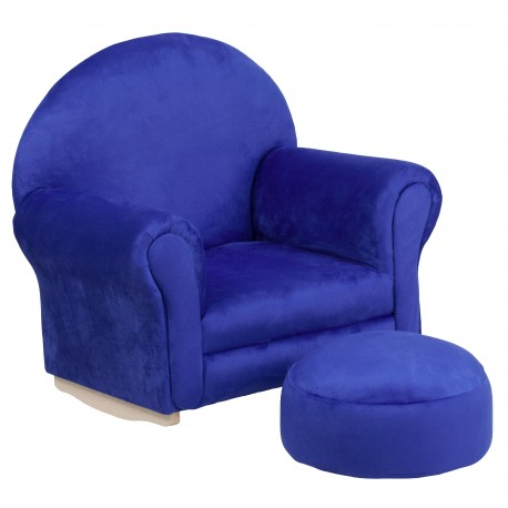 Kids Blue Microfiber Rocker Chair and Footrest