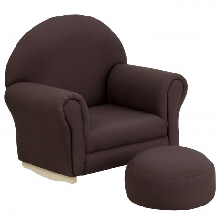 Kids Brown Fabric Rocker Chair and Footrest