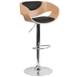 Beech Bentwood Adjustable Height Bar Stool with Black Vinyl Upholstery